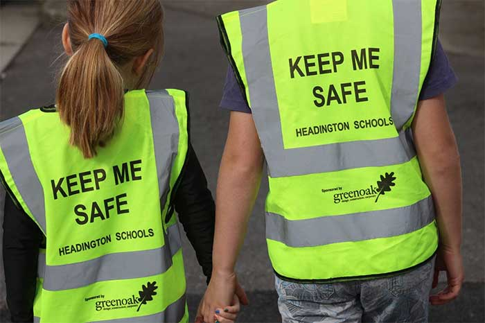 Greenoak, working with parents of children in the headington area, donates hi-visibility vests for children to be seen on their journey to school (or anywhere).